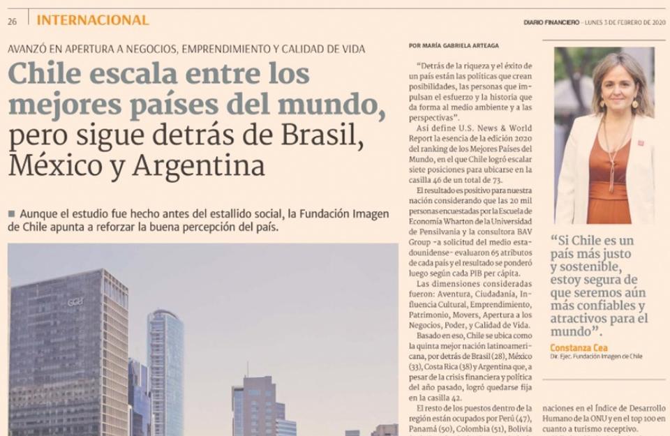 Chile escala entre los mejores países del mundo, pero sigue detrás de Brasil, México y Argentina