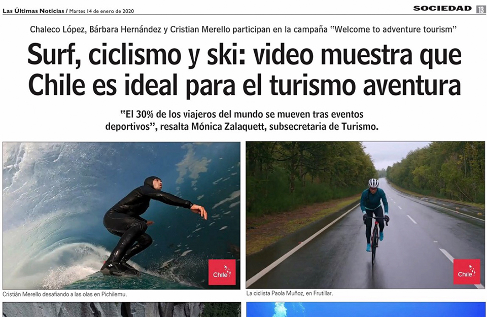Las Últimas Noticias: Surf, ciclismo y ski: video muestra que Chile es ideal para el turismo aventura
