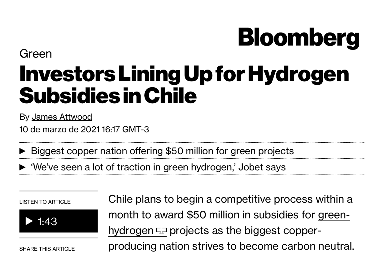 Investors Lining Up for Hydrogen Subsidies in Chile | Marca Chile