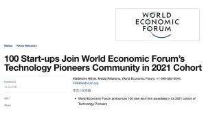 100 Start-ups Join World Economic Forum's Technology Pioneers Community in 2021 Cohort