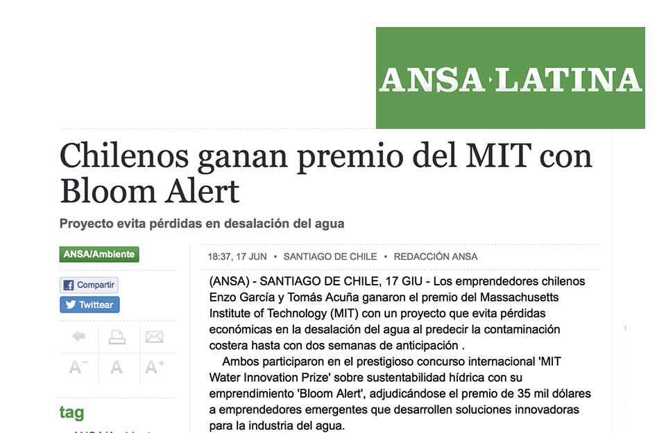 Chileans win MIT award with Bloom Alert | Marca Chile