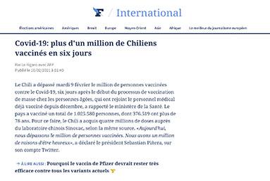 Covid-19: más de un millón de chilenos vacunados en seis días