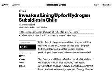 Inversionistas a la espera de subsidios al hidrógeno en Chile