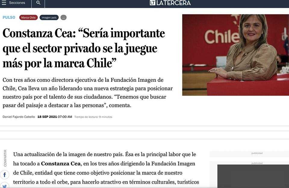Diario La Tercera destaca el trabajo de Imagen de Chile en posicionamiento de marca país   Marca Chile